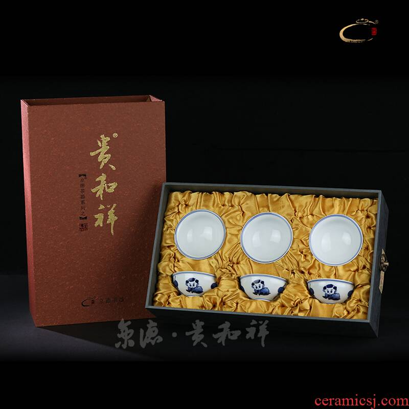 And auspicious hand - made pure manual high temperature ceramic porcelain fu tong gifts sets a complete set of 6 cups of tea set group