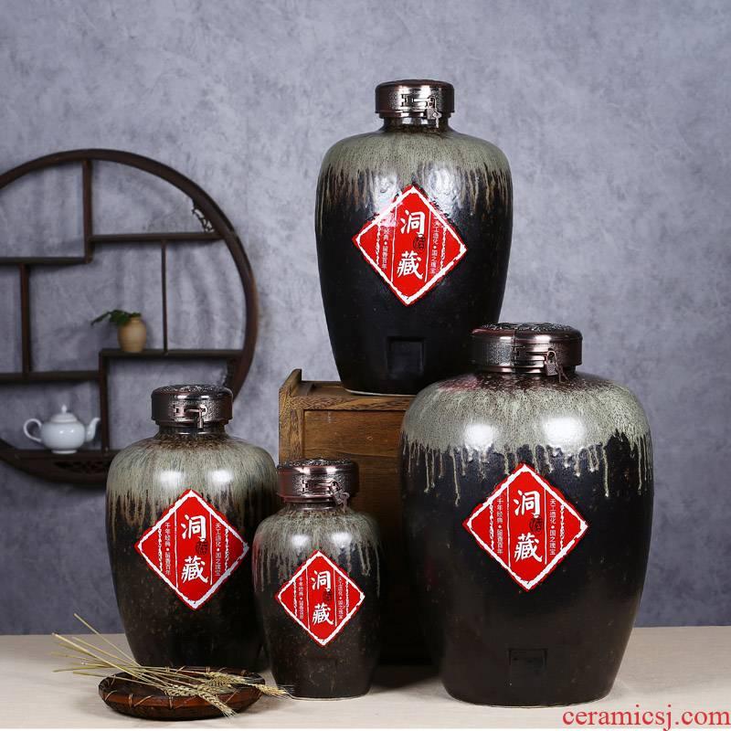 Jingdezhen ceramic jar jar of wine bottle wine brewing cylinder up 8 jin 20 jins 50 kg 30 jin wine