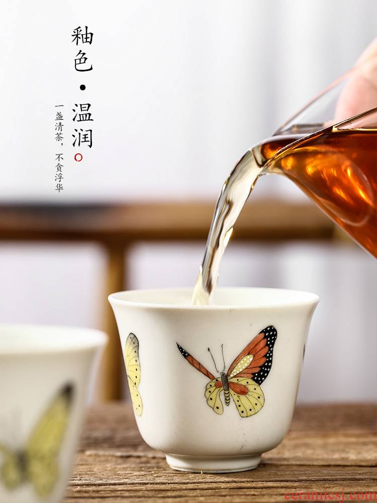 Plant ash glaze masters cup cup jingdezhen hand - made sample tea cup single kung fu tea cup pure checking ceramic tea set