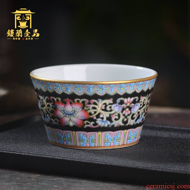 Jingdezhen ceramic hand - made all black enamel bound branch flowers personal master cup single cup tea cup kung fu tea set