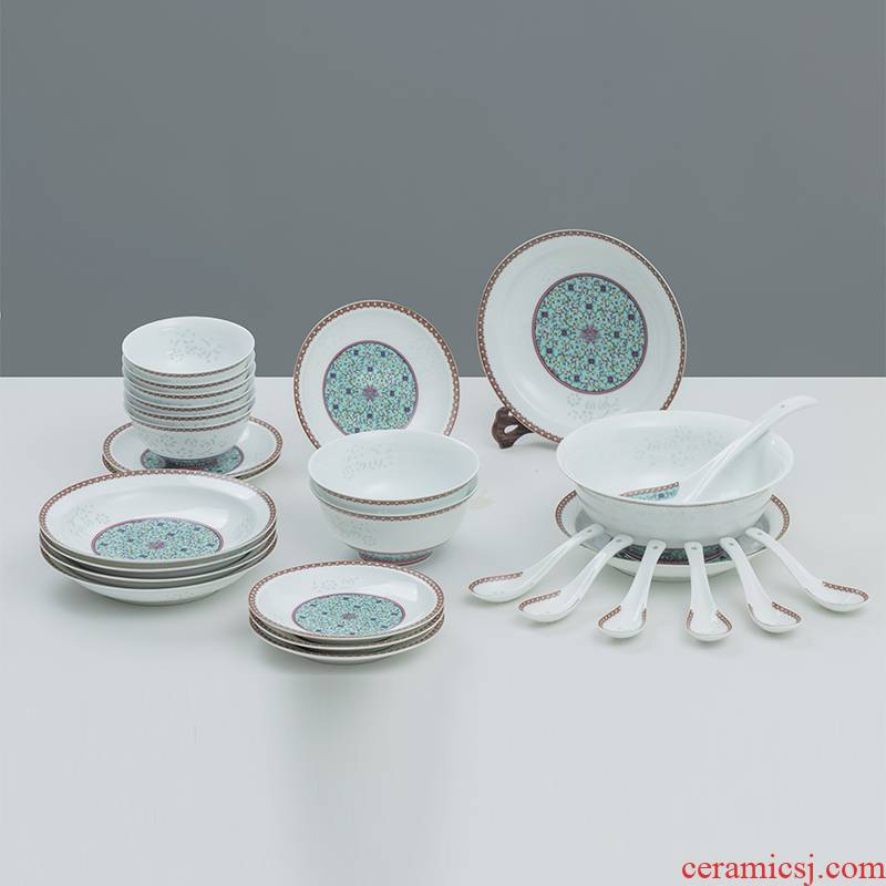 The dishes suit in The The qing dynasty royal with 28 head on colored enamel porcelain glaze and exquisite tableware suit grilled light bright green flowers