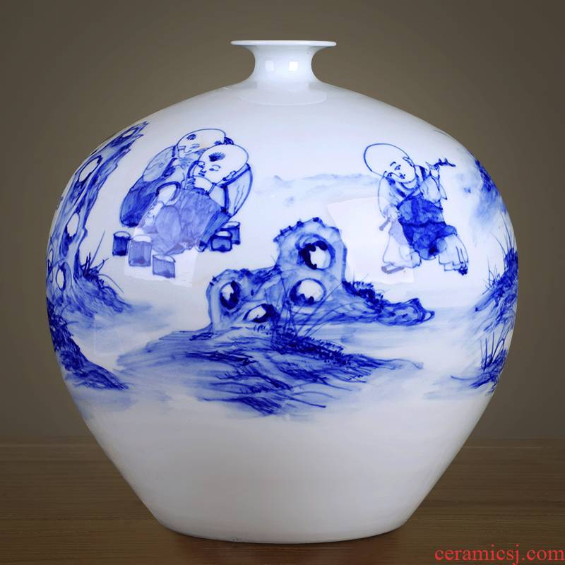 Jingdezhen ceramics furnishing articles new Chinese blue and white porcelain vase flower arranging home sitting room wedding decoration