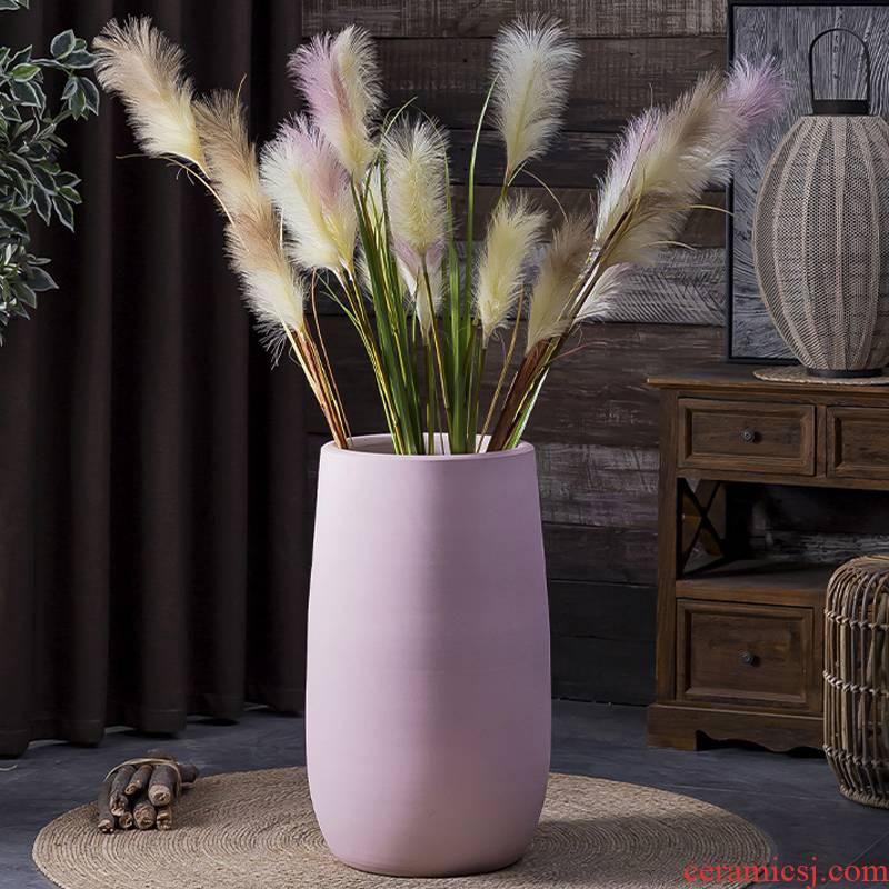 Morandi Nordic big ceramic vase furnishing articles creative flower arranging home sitting room adornment green plant of large diameter flowerpot