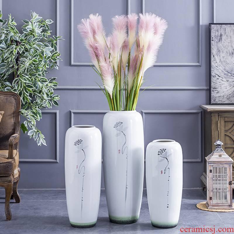 Modern new Chinese style ceramic vase of large sitting room household soft adornment TV ark, flower arranging hotel villa furnishing articles