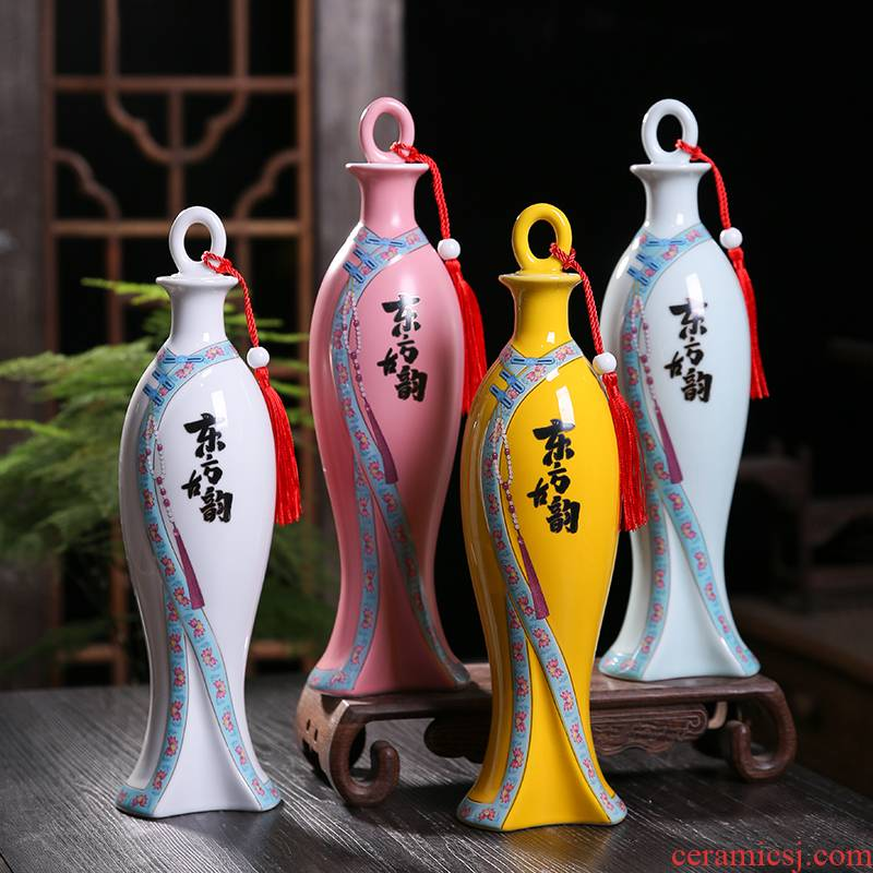 1 catty ceramic wine bottle household seal wine pot liquor bottles wine jars with creative little hip gift box