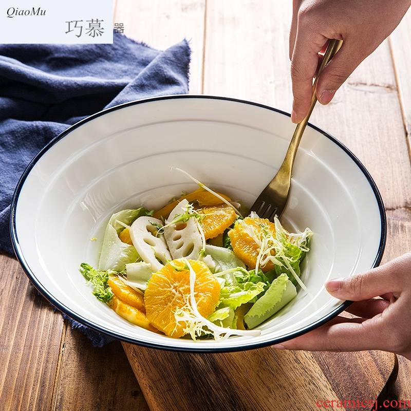 Qiam qiao mu creative ceramic Japanese ramen rainbow such use Korean domestic large hat to bowl beef dishes to eat the rainbow such use