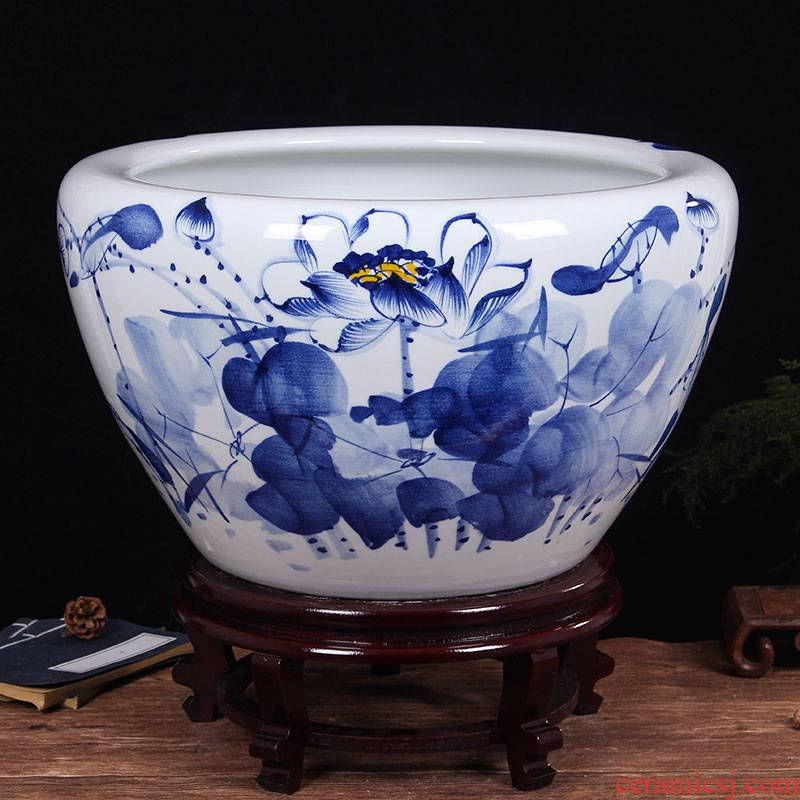 Jingdezhen ceramic aquarium pet gold fish tank water lily basin bowl lotus lotus cylinder cylinder tortoise GangPen sitting room place the flood water