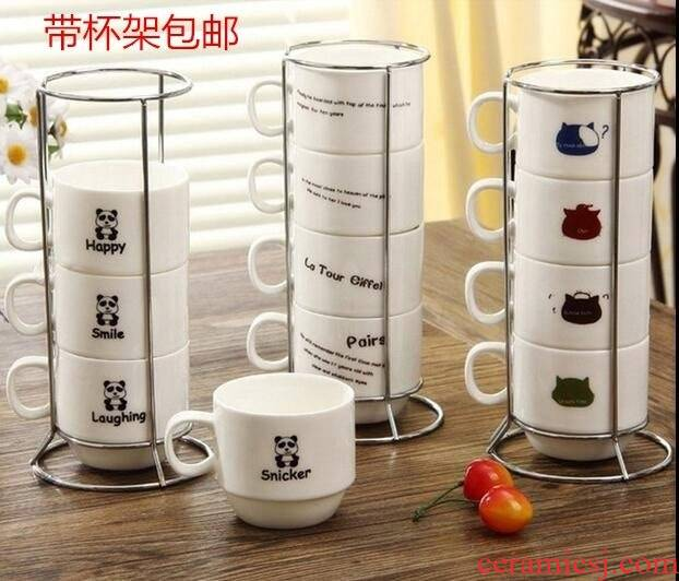 Suit household with cover teaspoons of three of four cups creative parent - child ultimately responds a cup of ceramic family pack