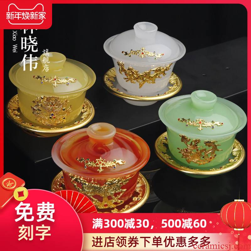 Silver agate jade porcelain tureen three to make tea cup bowl large anti hot jade colored glaze an inset jades individual