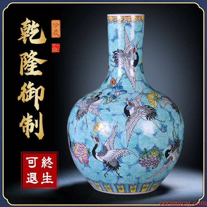 Jingdezhen ceramics by hand the pastel sky vases, flower arranging large new Chinese style sitting room adornment desktop furnishing articles