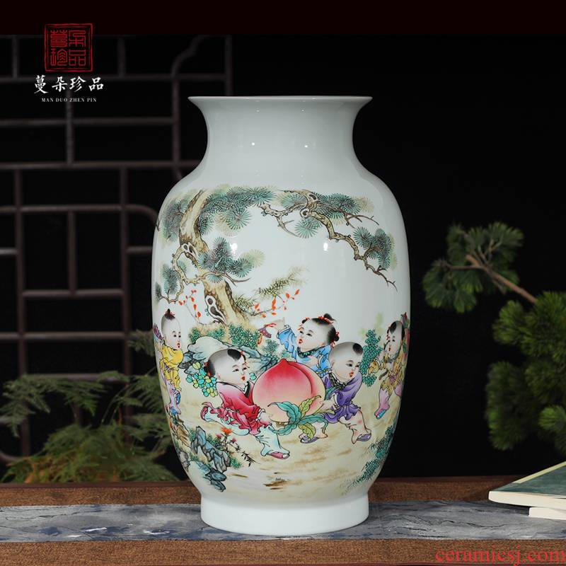 Jingdezhen colorful new home decoration ceramic furnishing articles sitting room with modern style to appreciate beautiful lad xiantao idea gourd bottle