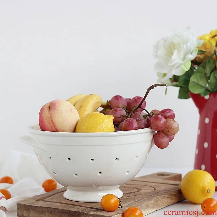 Export the Nordic contracted Japanese ceramic disc filter plate ear drop high hollow out fruit bowl fruit basket 1.3 KG