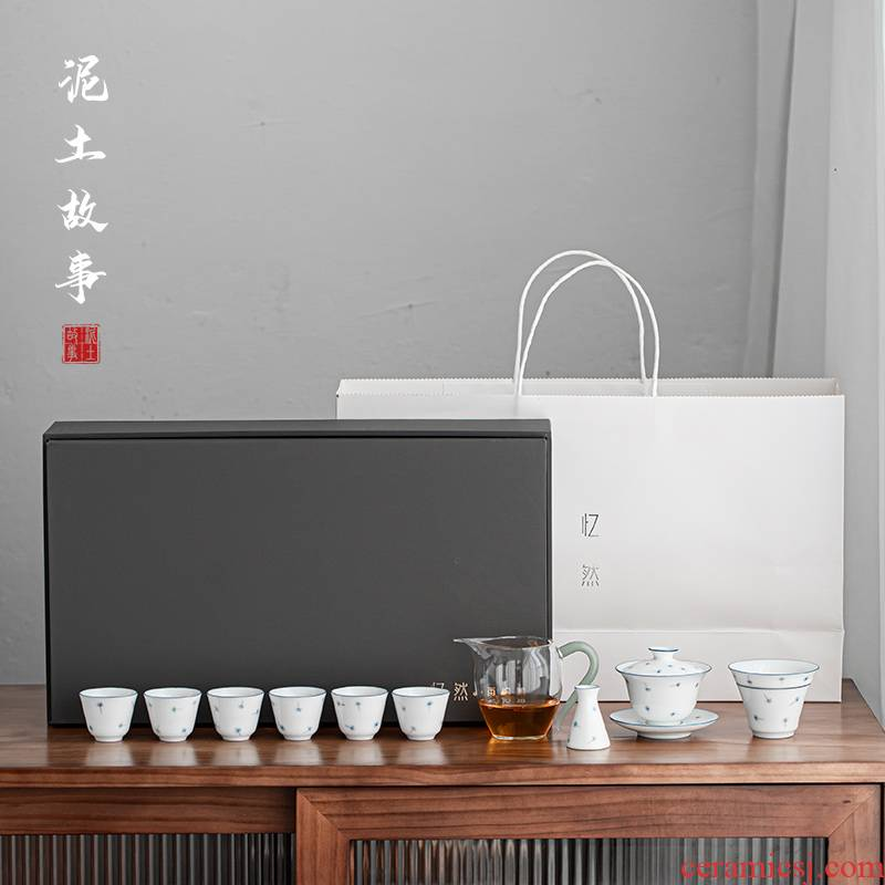 Jingdezhen tea suit pure manual hand - made ceramic cups domestic modern Japanese tea is a complete set of the teapot