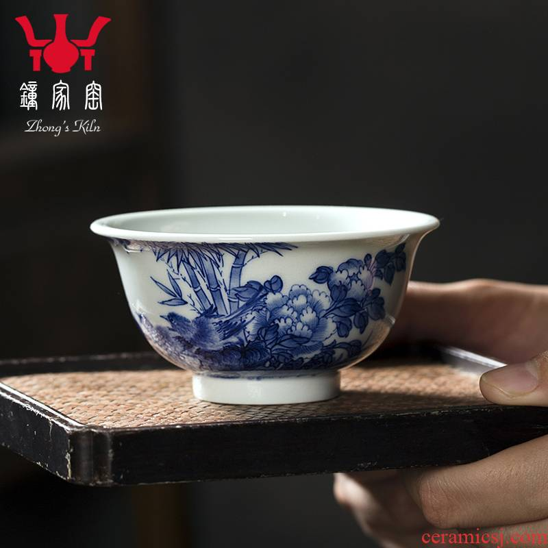 Clock home up with jingdezhen ceramic cups maintain full work all hand hand draw flowers and birds sample tea cup master cup single CPU