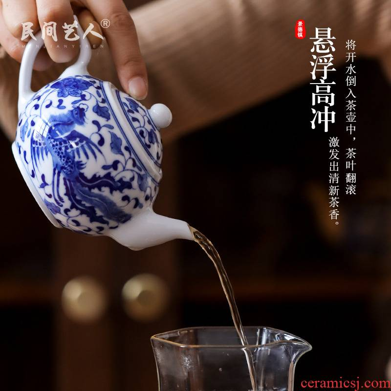 Phoenix small blue and white porcelain of jingdezhen ceramic teapot hand - made teapot kung fu tea accessories mercifully single kettle