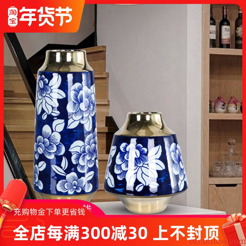 Mesa of jingdezhen ceramic vase is light key-2 luxury furnishing articles furnishing articles table sitting room adornment dry flower arrangement of blue and white peony