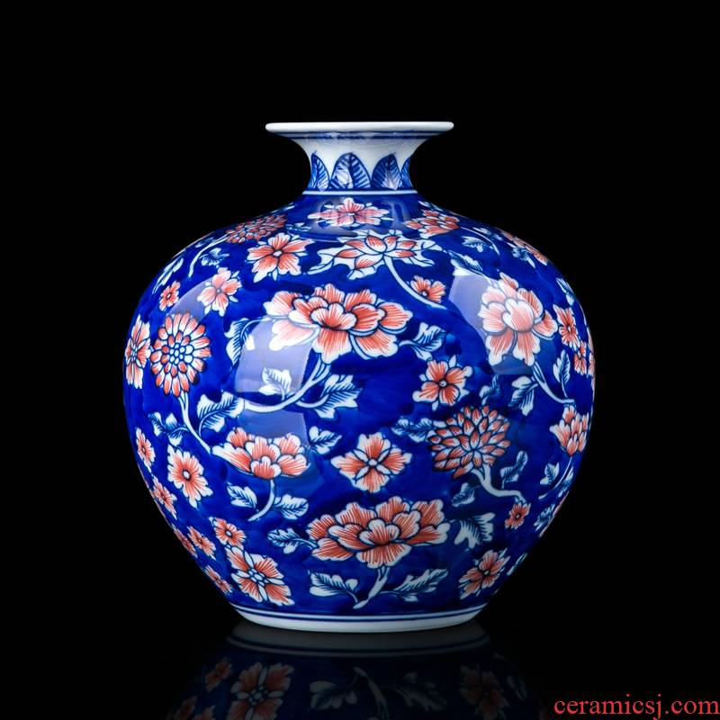 Jingdezhen blue and white youligong furnishing articles hand - made ceramic vase vases, flower arrangement of Chinese style living room decorations pomegranate bottles