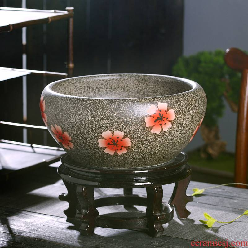 Special ceramic bowl lotus basin cylinder water lily lotus basin water aquarium balcony grass cooper hydroponic heavy leaf of lotus