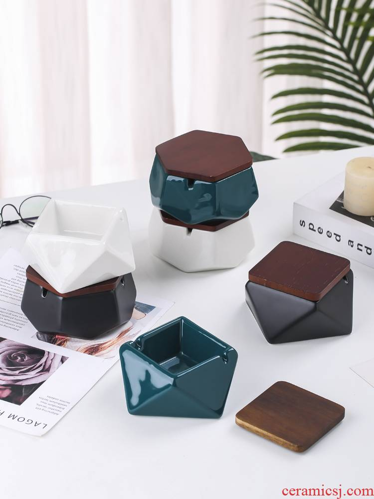 The Nordic ceramic ashtray ashtray move fashion creative home office solid geometry ashtray