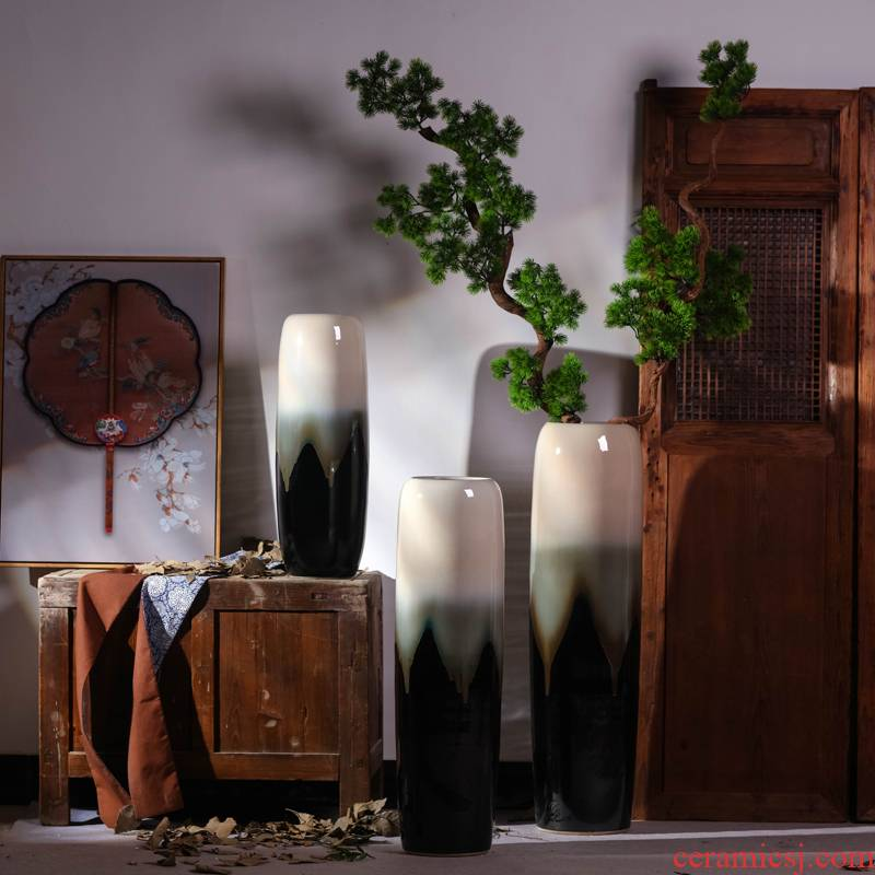 Jingdezhen ceramic vase landing large Chinese I and contracted sitting room European ikebana simulation flower suit furnishing articles