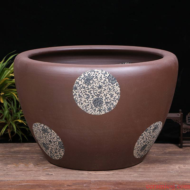 Jingdezhen ceramic aquarium oversized living room furnishing articles to raise the tortoise sleep always LianHe flowers cylinder courtyard home aquarium