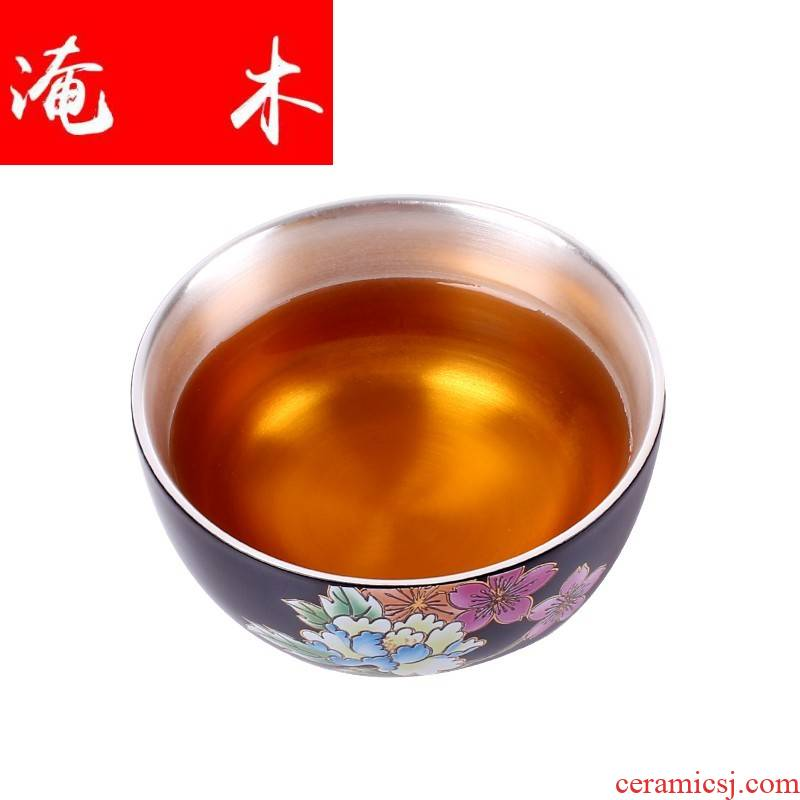 Submerged wood creative ceramic sample tea cup silver cup silver 999 authentic kung fu master CPU use manual coppering. As silver