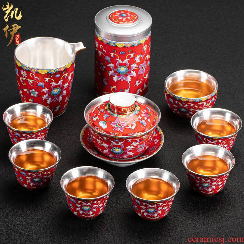 Classical red enamel coppering. As silver cup tea set jingdezhen ceramic kung fu tea tea silver tureen silver cup