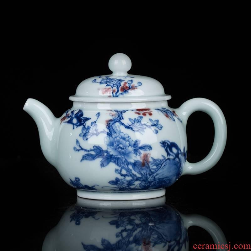 Teapot clock home up jingdezhen blue and white maintain Teapot manual youligong painting of flowers and tea pot ceramic pot