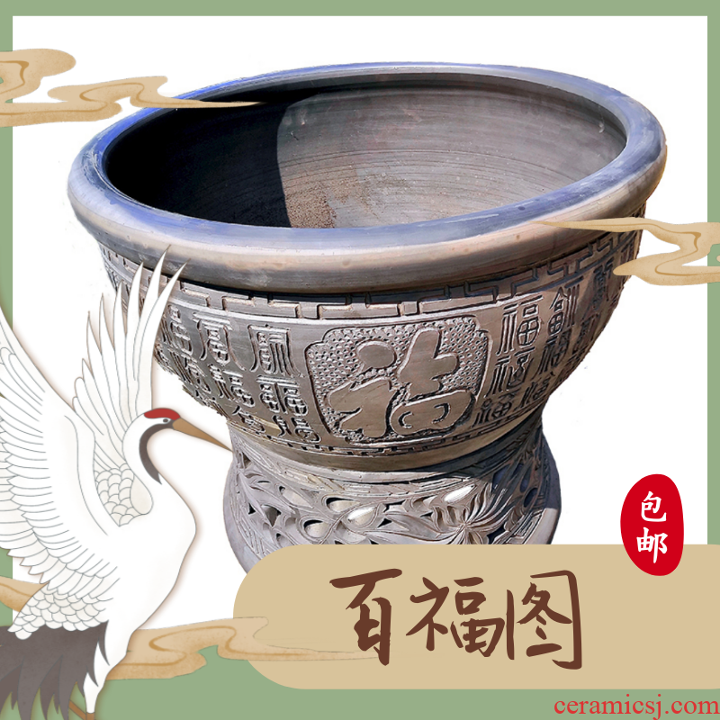 The New courtyard wind bucket of fish bowl of black mud fish large earthenware lotus lotus cylinder Chinese style household