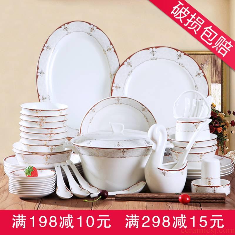 Jingdezhen porcelain tableware household ceramics dinner dishes suit 28/56 skull Korean set bowl chopsticks combination