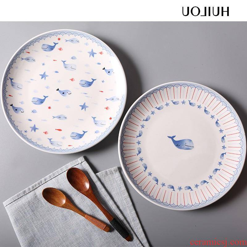 The kitchen creative round ceramic cartoon plate compote household food dish dish plates manufacturers for breakfast