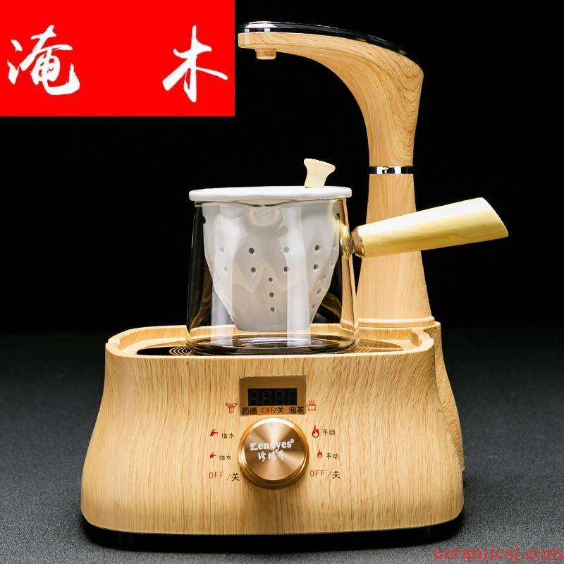 Flooded wooden household pumping electrical TaoLu boiled tea stove glass side of a complete set of the boiling pot of tea, black tea tea set