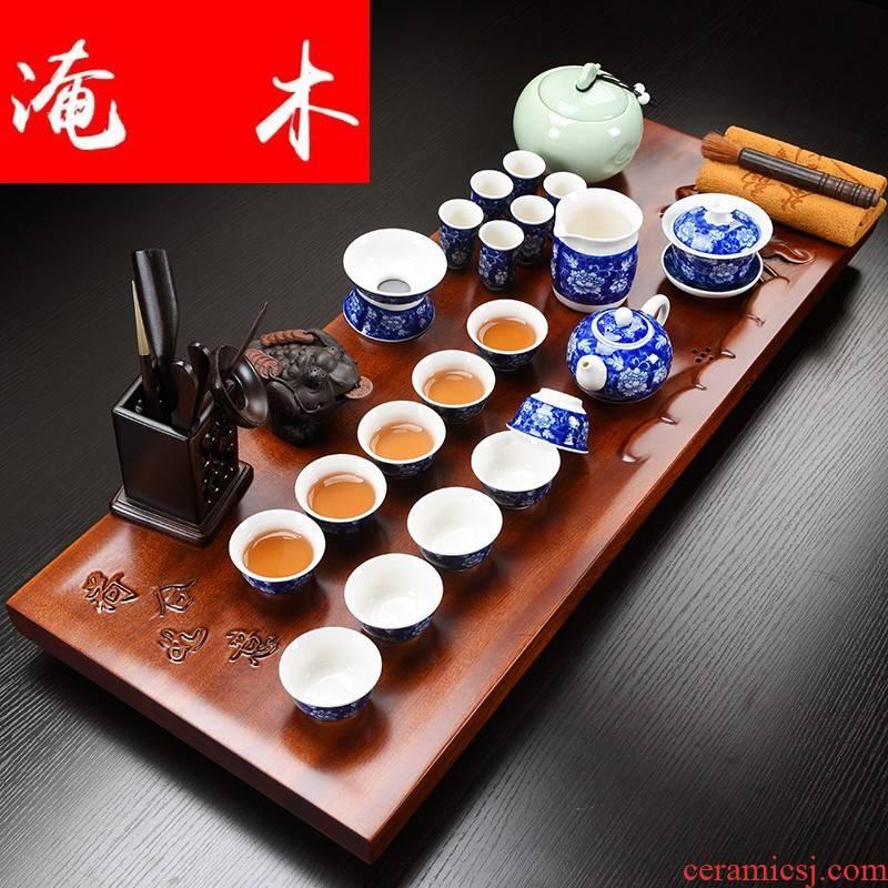 Submerged wood hua limu tea tray of household solid wood tea tray tea set ceramic kung fu tea sets tea service of a complete set of living room