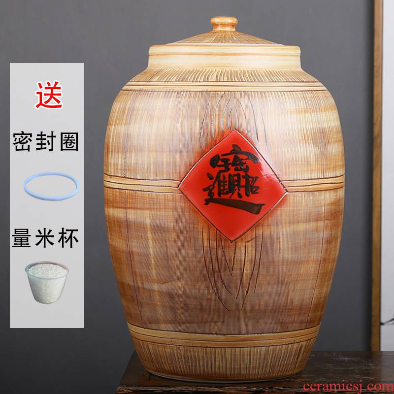 Jingdezhen ceramic barrel ricer box with cover seal storage tank seal oil and water tea urn home flour cylinder