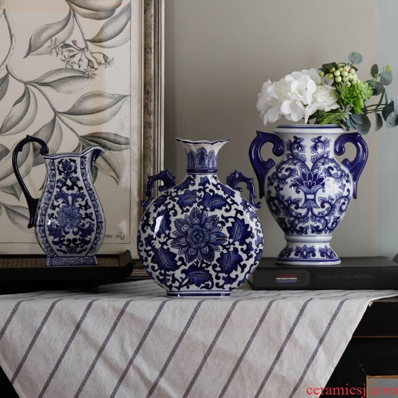 Jingdezhen ceramics vase large blue and white porcelain of the sitting room of Chinese style household TV ark, furnishing articles ceramic vases