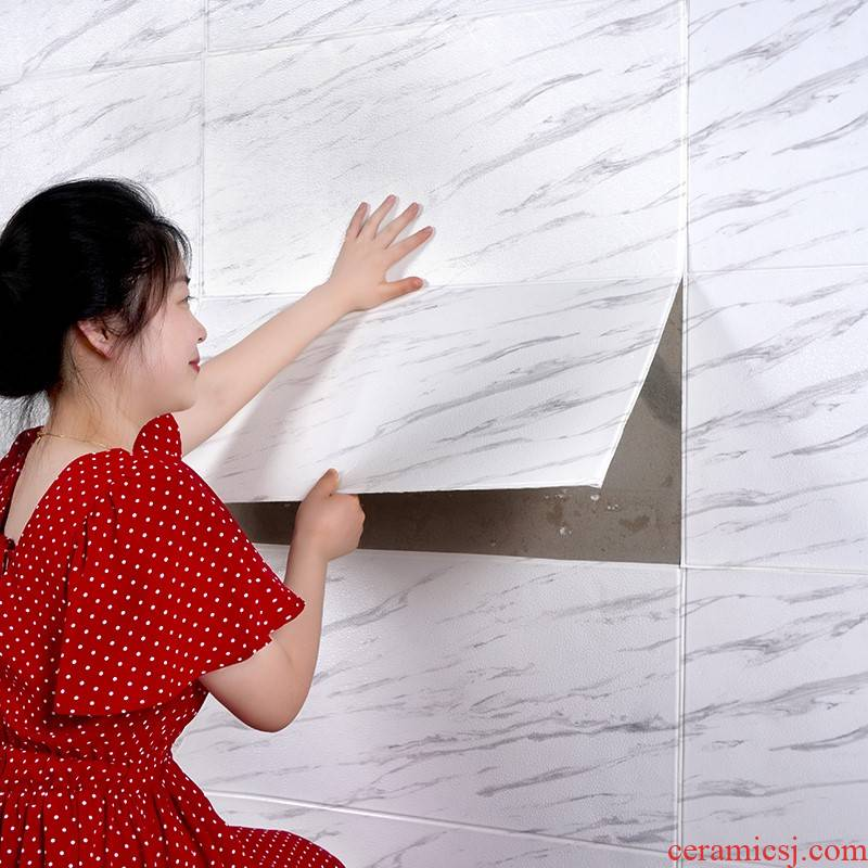 Wall paper adhesive 3 d Wall adornment bedroom walls terms waterproof imitation ceramic tile marble bathroom stickers