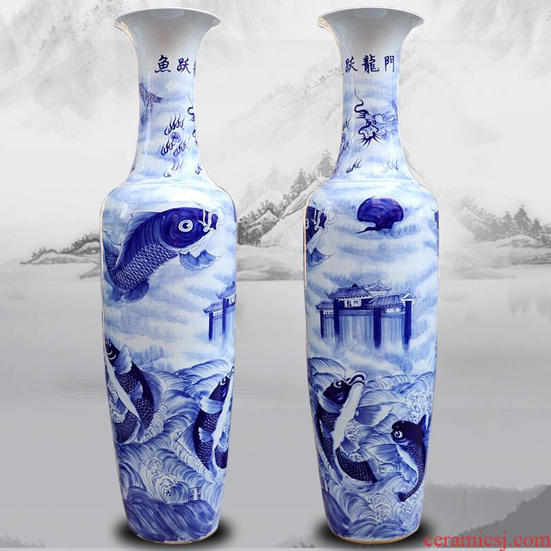Jingdezhen ceramic hand - made the leap to the French blue and white porcelain vase living room opening gifts furnishing articles