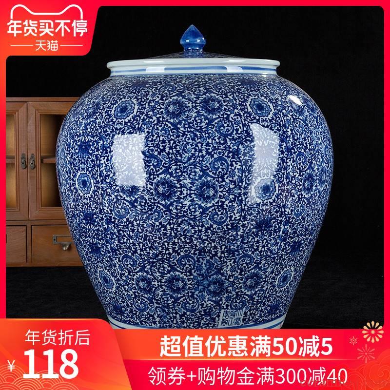 331 hand - made Of porcelain jingdezhen ceramics storage barrel ricer box 20 jins 40 catty cylinder altar pickles pickled meat tank Of water