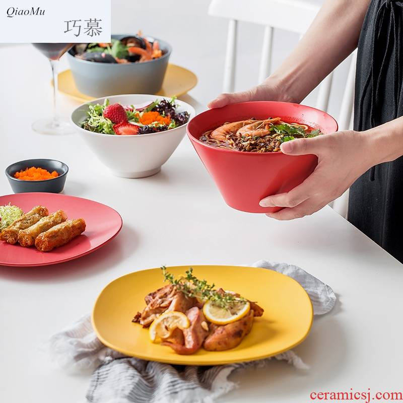 Qiam qiao mu Nordic suit contracted ceramic tableware porcelain bowl dish bowl chopsticks (combination dishes set