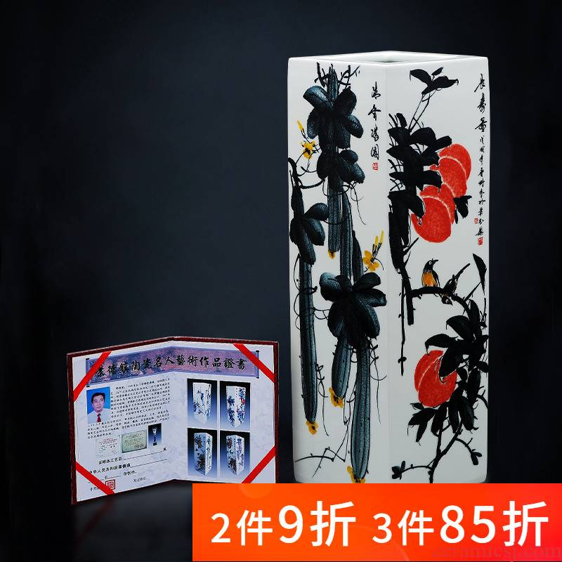 Jingdezhen ceramic set device penjing masters hand - drawn square of large vases, new Chinese style home sitting room adornment