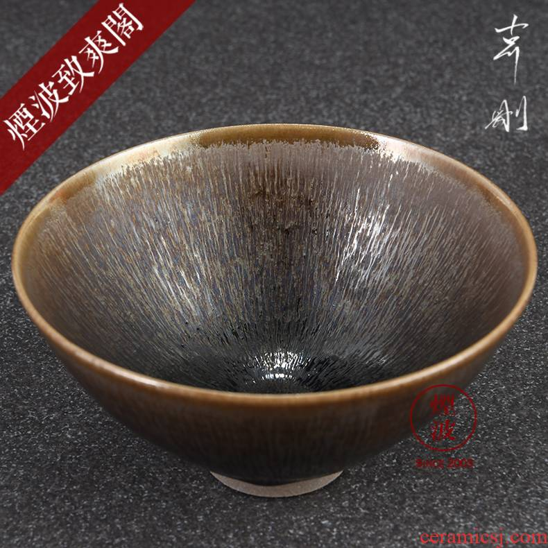Those Japanese pottery master expedition just built grain mesh temmoku light tea master cup single cup tea cups