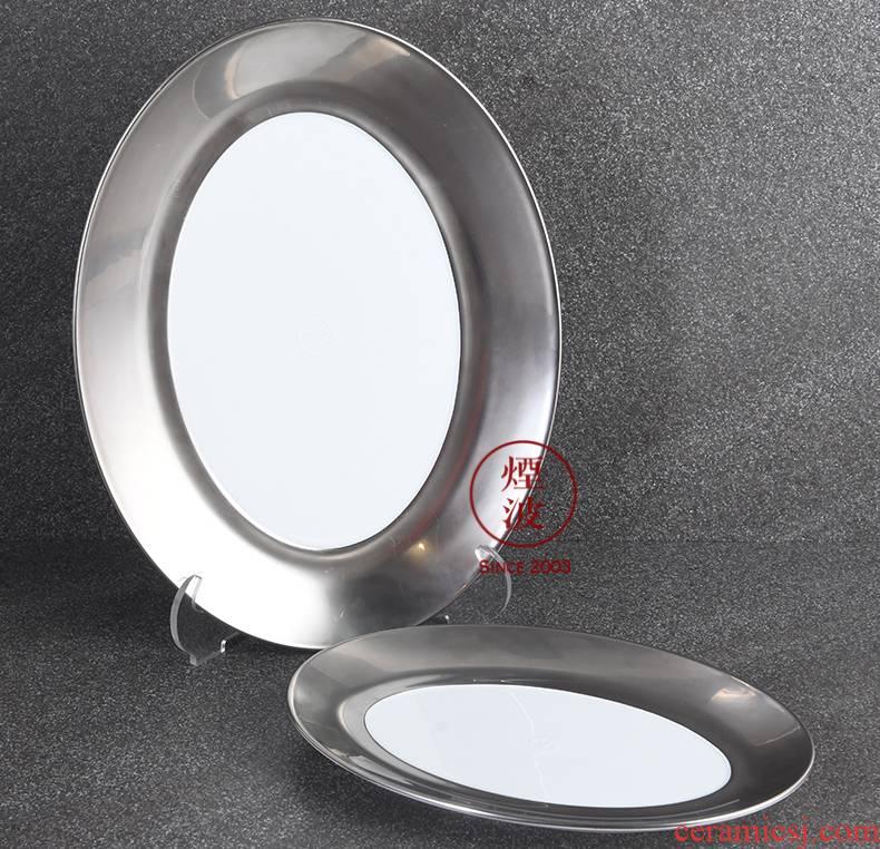 German mason Cosmopolitan MEISSEN porcelain polished platinum ou shi long tray plates