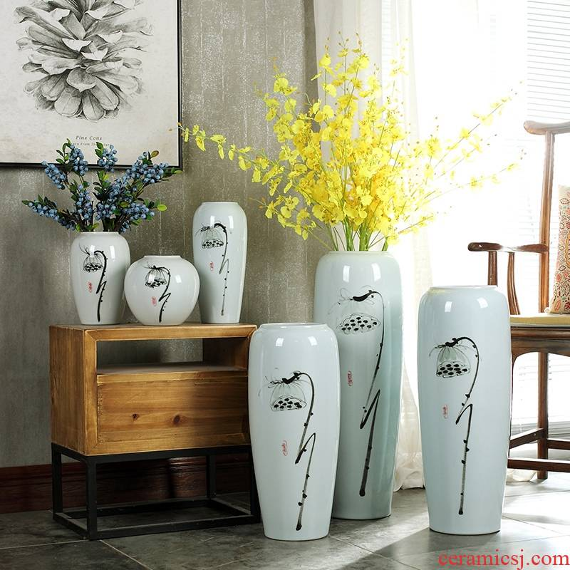 Contracted and I ceramic creative Chinese lotus dried flowers large vase zen living room home decoration flower arranging furnishing articles