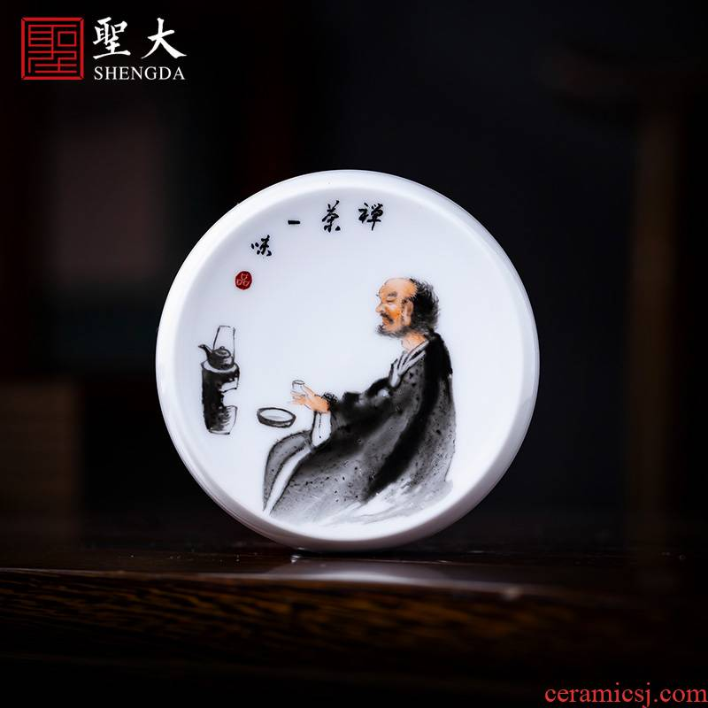 Holy big ceramic cover employ hand - made new see zen tea character saucer cover all hand jingdezhen tea accessories
