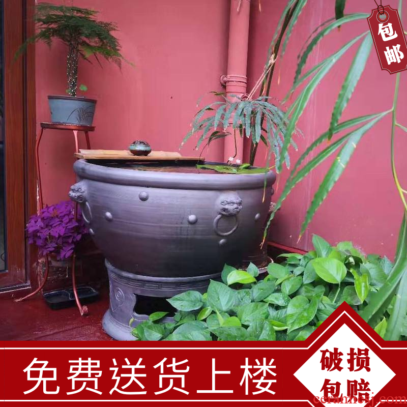 Aquarium Chinese landing clay made of baked clay domestic large breathable goldfish lotus wind water tanks