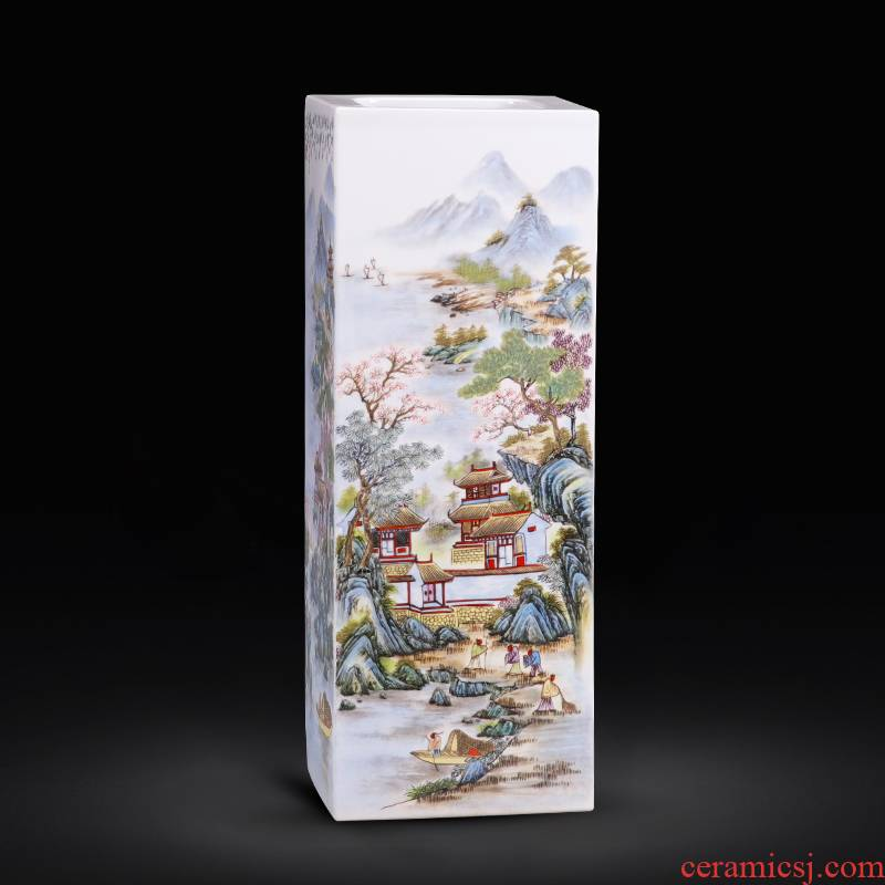 Jingdezhen porcelain ceramic square big vases, flower arranging is placed the new Chinese style household living room TV cabinet decoration