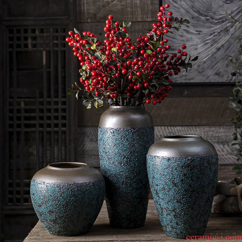 New Chinese style ceramic hydroponic ornament sitting room porch TV ark, zen table dry flower arranging flowers floret bottle furnishing articles