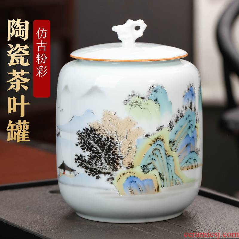 Jingdezhen ceramics caddy fixings to restore ancient ways small household household pu 'er tea urn loose tea snacks sealed storage tank