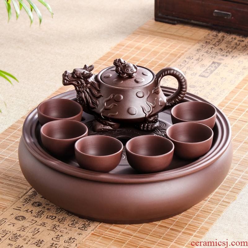 Violet arenaceous kung fu tea set suit modern household contracted round tea tray tea chaoshan of a complete set of ceramic teapot teacup