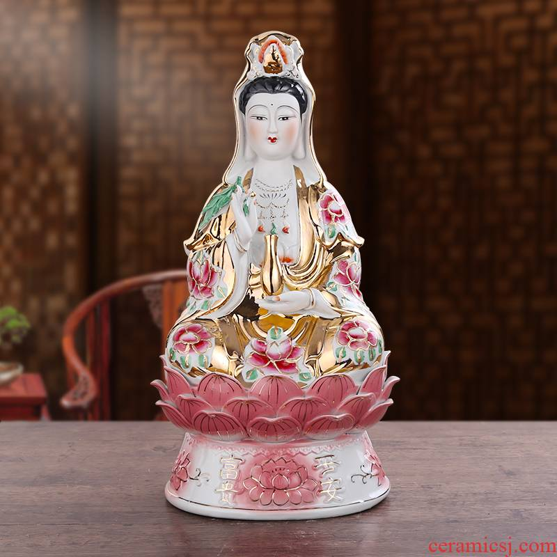Ceramic in the south China sea guanyin Buddha embellish furnishing articles medallion town curtilage home sitting room white jade goddess of mercy